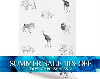 Animals Peel & Stick Fabric Wallpaper Repositionable
