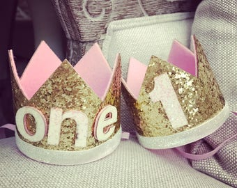 First birthday crowns gold and pink
