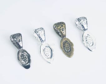 glue on pendant bails - brass glue one bails - glue on bails wholesale - bail jewelry findings -  filigree jewelry findings - 15 pcs
