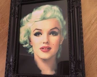 Marilyn Monroe green hair print in black frame 7x5""