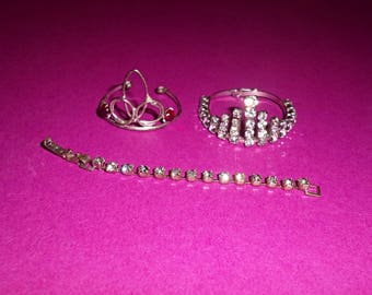 Vintage Doll Rhinestone Jewelry Tiara Madame Alexander Kin, Muffie, Tammy Size
