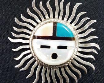 Sterling Silver Sun Face Vintage Pendant Brooches