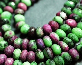 """Rustic Ruby Zoisite Beads , Beads Size - 8 mm , 8"""" - 1 Strand , Cut Beads , Round Shape"""