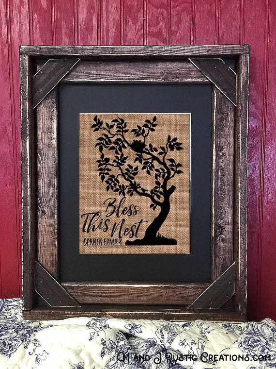 Framed Bless This Nest | Burlap Tree| Personalized | Family Tree | Rustic Housewarming | Barn Wood | Framed | #0138