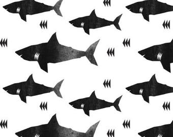 Shark Fabric Childrens Fabric by the Yard Organic Cotton Minky Jersey Knit Black & White Nursery Fabric Baby Fabric Quilting BW 3848201