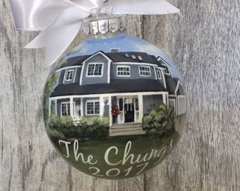 Realtor Closing Gift//House Ornament// Custom House Portrait Ornament// House Painting from Photo// Gift for New Homeowners// Housewarming
