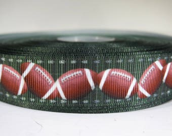 "5 yards of 7/8 inch ""football"" grosgrain ribbon"