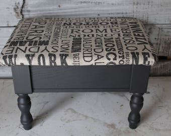 "Upholstered Footstool  / Small Painted Black ""Destinations"" Footstool / Black and Gray Step Stool / Upholstered Step Stool w/ Storage"