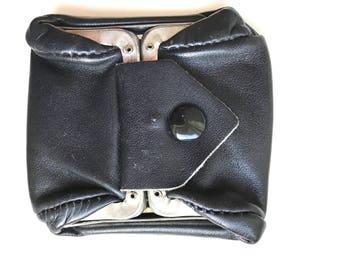 Vintage Black Leather Edwardian Folding Coin Purse