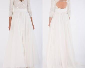 Ivory chiffon dress