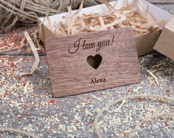 Personalized Wallet Insert with heart, Walnut wood, Custom wallet insert love note, customized wallet card, gift for dad, gift for him.