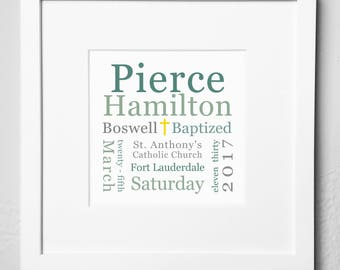 Personalized Baptism Plaque / Print Options / Baptism Gift / Baptism Keepsake / Baptism Memento / Baptism Gift - Girl / Baptism Gift - Boy