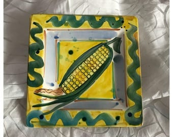 Hand Made Studio Pottery Serving / Decorative Plate, Corn on the Cob, Signed Jennings