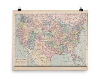 Map of The United States of America Print - the 48 contiguous states, vintage map of US, geography