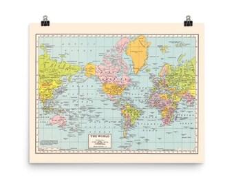 World Map Print - matte poster print vintage world map - wall art - office, den, dorm