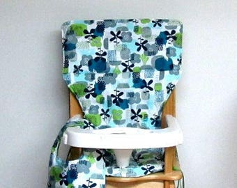 eddie bauer cotton high chair cushion, chair pad, kids feeding chair, child accessory, replacement cover, art deco flowerswith matching bib