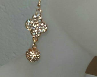 Copper  Clover Bling Earrings