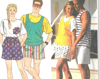 Simplicity  9978  Misses, Mens, Teen Boy and Girl Short's and Top's  Size xxsm-sm  Uncut