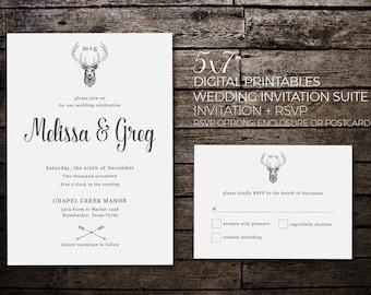 Deer Wedding Invitation Printable