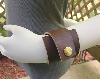 Brown Asymmetric Leather Cuff, Brown Leather Bracelet, Brown Leather Cuff, Upcycled Brown Leather Cuff, Brown Biker Chic Cuff, Brown Leather