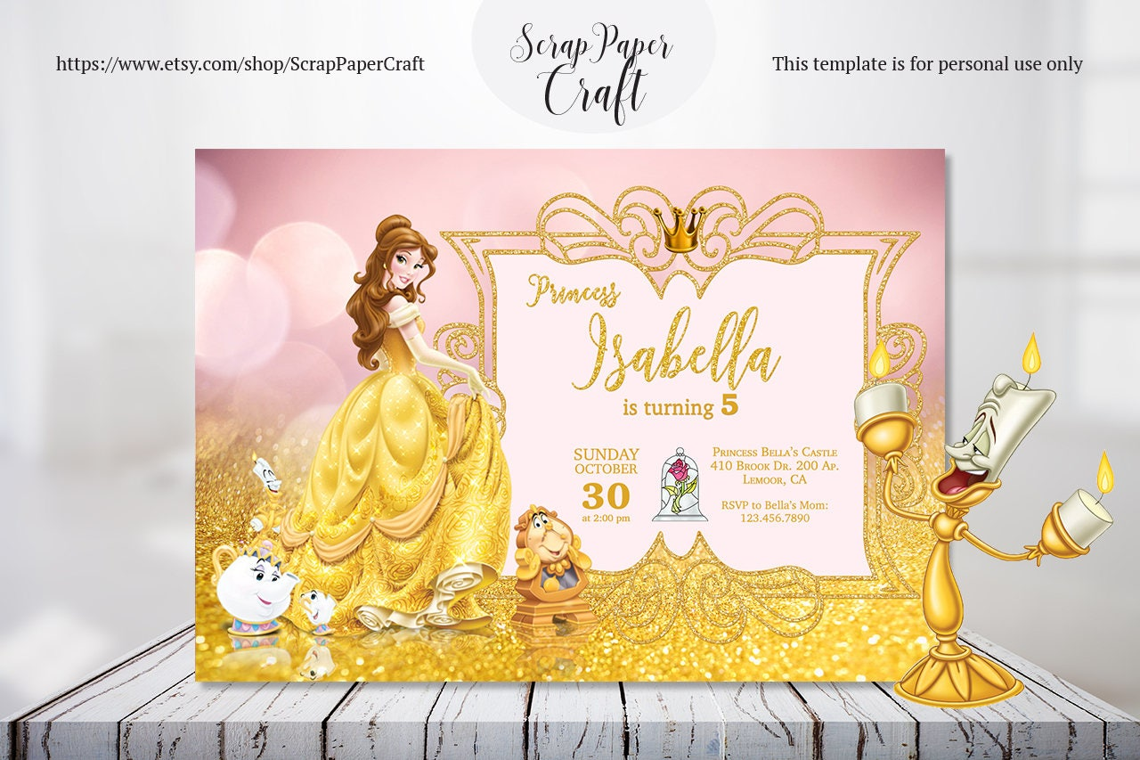 Beauty and the Beast Birthday Invitation, Personalized Belle ...