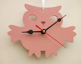 Owl, all colors (enter and choose your favorite color), wooden wall clock or table clock, silent
