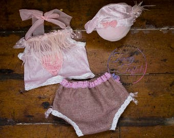 Pink velvet and lace set, sitter photography prop, UK vendor, ready to post props, sitter lace set, pink sitter set, vintage style props