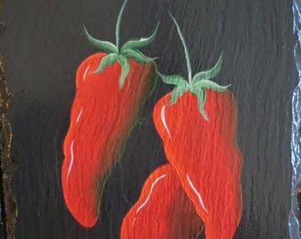 Hand Painted CHILI PEPPERS Slate