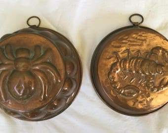 Two Vintage Copper Molds Spider Copper Mold/Scorpion Copper Mold