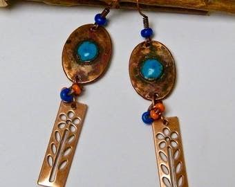 Earrings rustic and Bohemian, copper, glass, blue, orange, copper