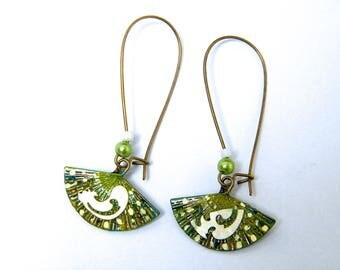 Stud Earrings, brass, beads, hand painted, ecru, green, bronze