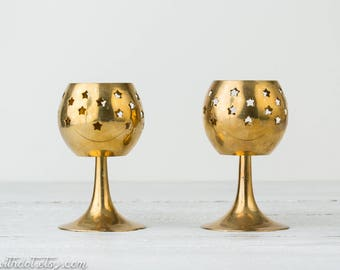 2 Vintage Brass Candle Holders - Raised Candle Holders - Votive Candleholders - Goblet Shaped Candle Holder - Wedding Decor - Centerpiece