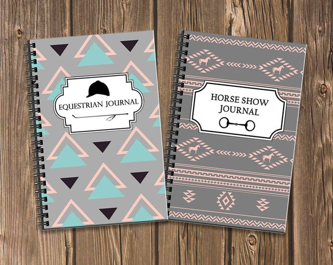 Featured listing image: Stylish Equestrian Journal Bundle: Document your training and horse show results with these two coordinating spiral notebooks