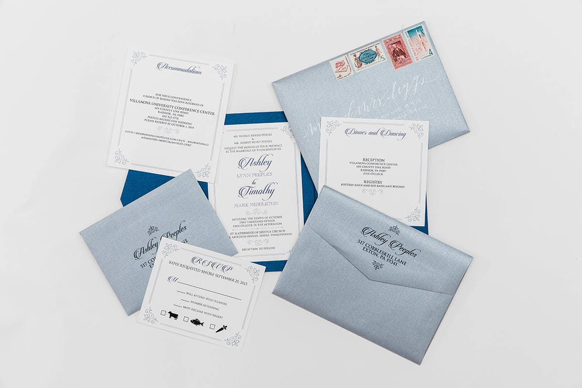 5x7 navy and silver formal classic pocket wedding invitation with gallery photo gallery photo gallery photo stopboris Images