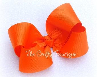 Orange Hair Bow ~ Orange Boutique Bow ~ Large Orange Bow ~ School Uniform Bow ~ Large Boutique Bow ~ Ponytail Bow ~ Orange Headband Bow