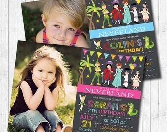 Neverland Birthday Invitation Card, Neverland Invite, Neverland party, Peter Pan Invitation, Chalkboard, Photo Invitation, Printable