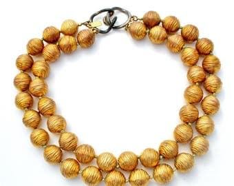 Sale Donald Stannard, Vintage Necklace, Large Beads, Multi Strand, Gold and Copper, Hand Knotted,  Statement Necklaces