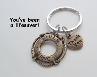 Volunteer Appreciation Gift Keychain, Bronze Lifesaver Charm, Volunteer Gift, Employee Gift, Coworker Gift, Work Team Gift Thank You Teacher