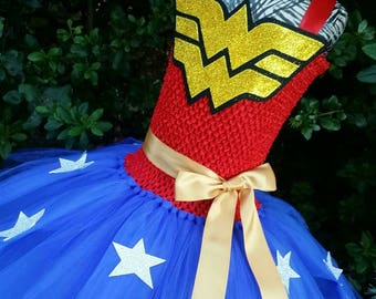 Wonder Woman Inspired Tutu Dress, Wonder Woman Costume, Wonder Woman Party, Wonder Woman Tutu, Halloween Tutu Dress, Birthday Tutu Dress