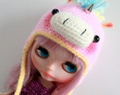 Pre-Order - Pastel Unicorn Hat - A Hat For Neo Blythe and Pullip - Blythe Clothes - Dolls Hat  - Blythe Doll Crochet Hat - Eriko's Emporium