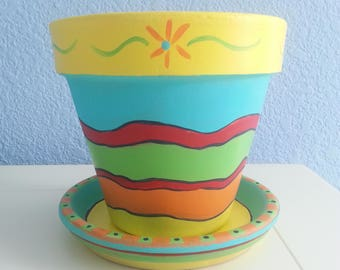 """Hand painted Flower Pot  & Saucer: 6"""" Mexican inspired design. Bright Colors. *  Great for Succulent and Cactus plants *Gift for Gardeners"""