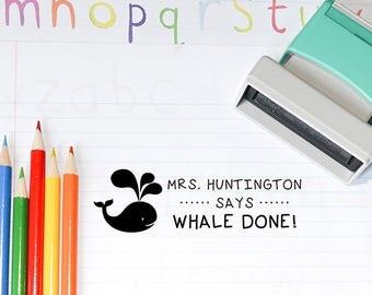 Teacher Stamp, Self inking teacher stamp, Grading Stamp, Whale Teacher Stamp, Teacher Gift, Back to School T15