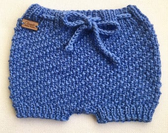 Textured Baby Shorties / Knit Diaper Cover / Knitted Baby Bloomers / Newborn Diaper Cover