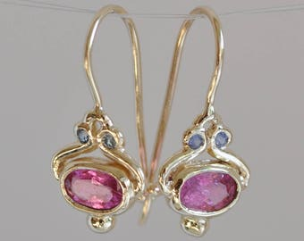 Drop Earrings Tourmaline , Pink Tourmaline with Gold ,  14k Dangle Earring, Pink Tourmaline Earring , 14k Gold Earrings , Solid Gold Earring