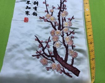 "Signed  Chinese Art Silk Embroidery - Cherry Blossom  9.5""x 16"" Hand Embroidered"