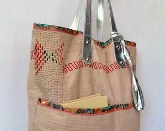 Kantha tote - silver leather tote - totebag - antique gudari - kantha bag - diaper bag - tote - leather tote
