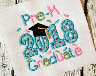 Pre-K Graduate Applique Design - Pre-K Graduate Embroidery Design - Graduate Applique Design - Graduate Embroidery Design - Applique Design