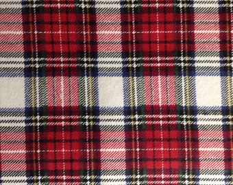 Perfect One Half Yard Of Fabric Material   Red Tartan Plaid   FLANNEL