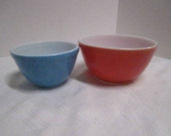 Vintage Pyrex Red & Blue  Bowls No #'s