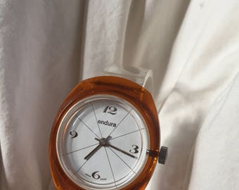 Vintage Orange/Amber windup watch for a small wrist